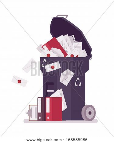 Trash bin on wheels full of paper and documentation of no need, administrative overloading with nonworking documents and files, useless office labor, loss of private information and data, delete files