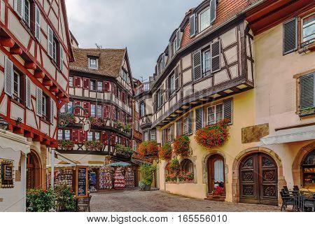 Historical street in Colmar city center Alsace France