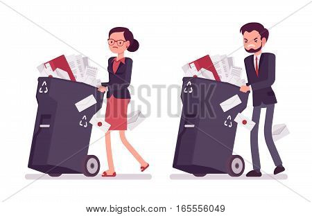 Businessman and businesswoman pushing trash bins on wheels with documents of no need, overloading with nonworking paper, useless office labor, loss of private data, delete files, unwanted information
