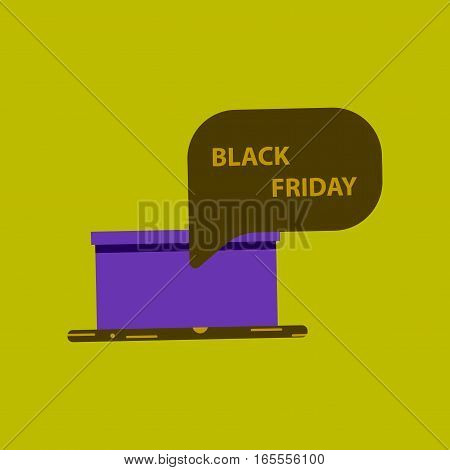 Flat icon of gift box Black Friday surprise thinking cloud