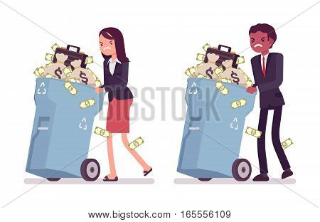 Young businessman and businesswoman pushing hard wheeled trash bins with money, full of banknotes, dollar sacks, case with cash, spend money for nothing