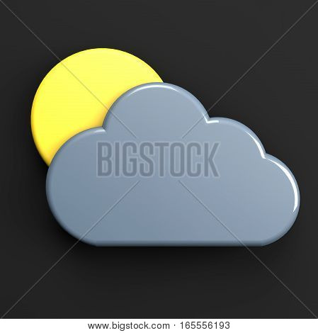 sun and cloud weather forecast icon isolated on black 3d illustration