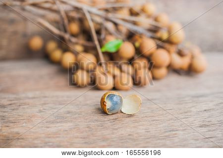Longan Fresh Dimocarpus Longan. A Bunch Of Longan And Peel Show The White Meat With Black Seed Was P
