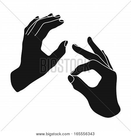 Sign language icon in black design isolated on white background. Interpreter and translator symbol stock vector illustration.