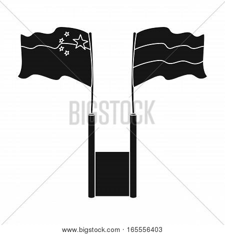 Russia and China flags icon in black design isolated on white background. Interpreter and translator symbol stock vector illustration.