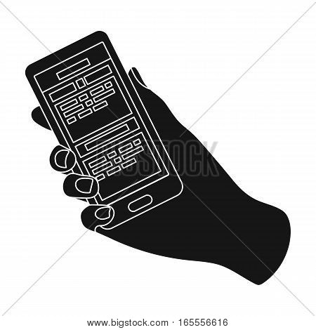 Mobile translator icon in black design isolated on white background. Interpreter and translator symbol stock vector illustration.