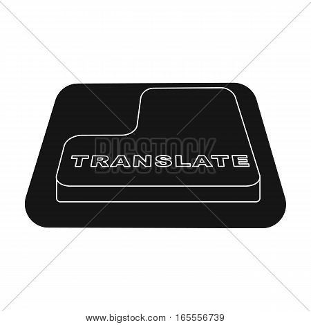 Translate button icon in black design isolated on white background. Interpreter and translator symbol stock vector illustration.