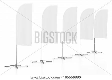 Blank Advertising Banner Flag Mockup.
