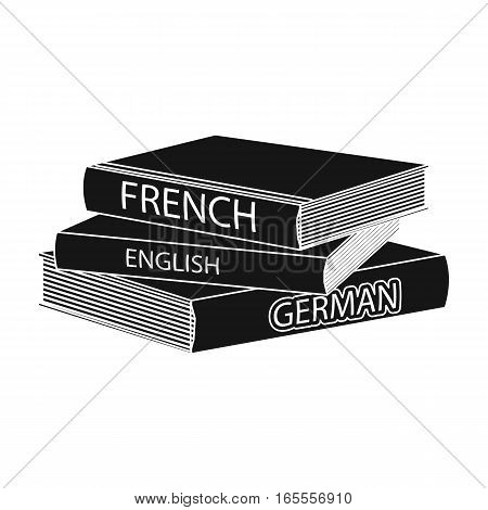 Various dictionaries icon in black design isolated on white background. Interpreter and translator symbol stock vector illustration.