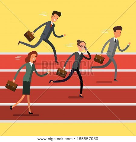 Concept of winning. Cartoon business people running to finish line. Team leader competition. Flat design, vector illustration.