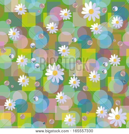 Seamless Vector Pattern With Daisies And Dewdrops On Abstract Background.