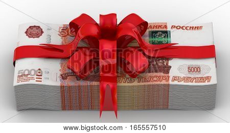 Money as a gift. Pack of 5000 Russian rubles tied with a red ribbon with bow. Isolated. 3D Illustration