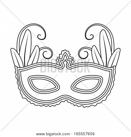 Brazilian carnival mask icon in outline design isolated on white background. Brazil country symbol stock vector illustration.