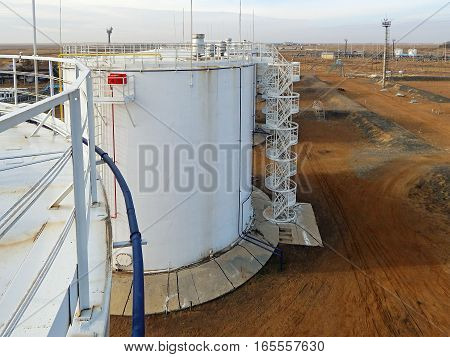 Vertical steel tanks for petroleum products. View from above.