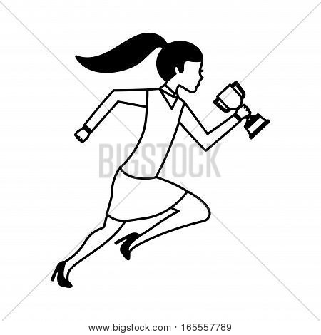 businessperson running avatar with trophy vector illustration design