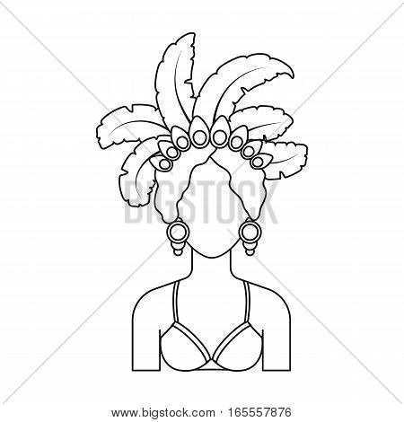 Samba dancer icon in outline design isolated on white background. Brazil country symbol stock vector illustration.
