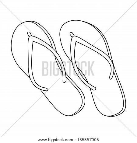 Green flip-flops icon in outline design isolated on white background. Brazil country symbol stock vector illustration.