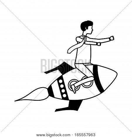 businessperson flying avatar in rocket vector illustration design