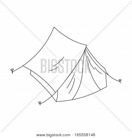 Yellow tent icon in outline design isolated on white background. Family holiday symbol stock vector illustration.