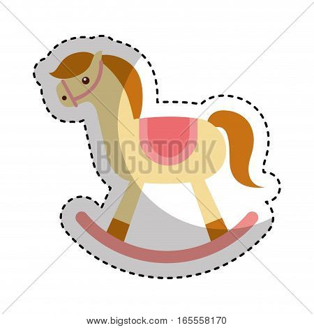 horse wooden toy icon vector illustration design