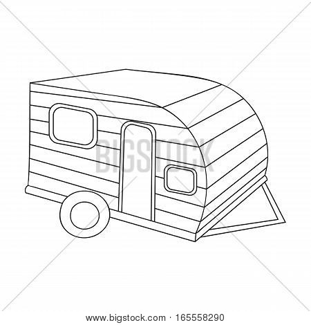 Green caravan icon in outline design isolated on white background. Family holiday symbol stock vector illustration.