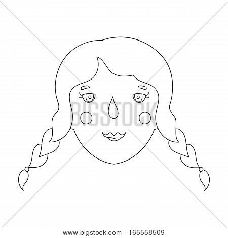 Daughter icon in outline design isolated on white background. Family holiday symbol stock vector illustration.