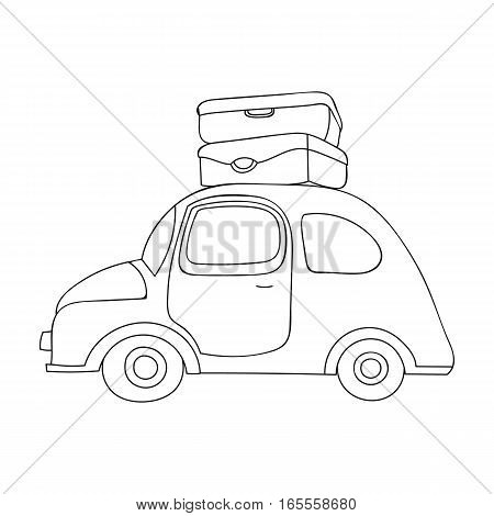 Red car with a luggage on the roof icon in outline design isolated on white background. Family holiday symbol stock vector illustration.