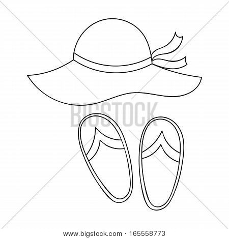 Beach hat with flip-flops icon in outline design isolated on white background. Family holiday symbol stock vector illustration.