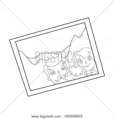 Family photo portrait icon in outline design isolated on white background. Family holiday symbol stock vector illustration.