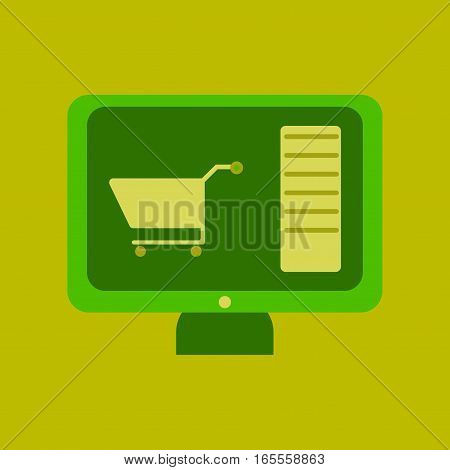 Flat icon of computer sale online buying
