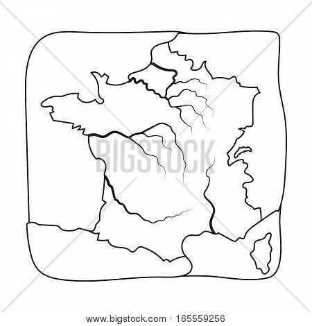 Territory of France icon in outline design isolated on white background. France country symbol stock vector illustration.