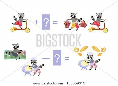 Magic Math With Cute Raccoons. Educational Game For Children. Cartoon Illustration Of Mathematical A