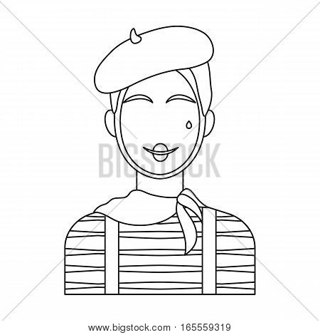 French mime icon in outline design isolated on white background. France country symbol stock vector illustration.