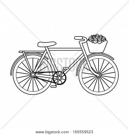 Pink bicycle with basket icon in outline design isolated on white background. France country symbol stock vector illustration.