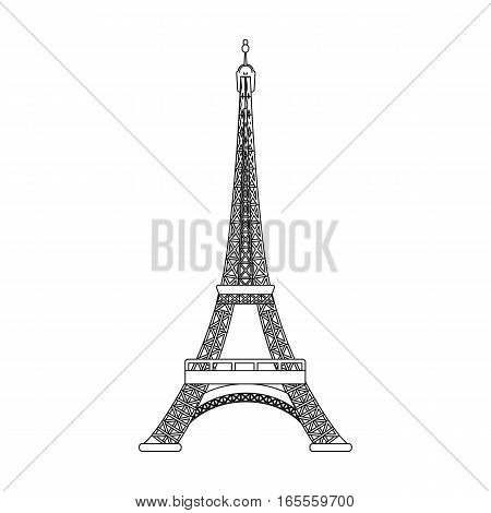 Eiffel tower icon in outline design isolated on white background. France country symbol stock vector illustration.