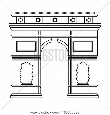 Triumphal arch icon in outline style isolated on white background. France country symbol stock vector illustration. - stock vector
