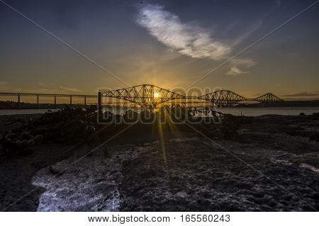Sun leaving us at the Forth Road Bridge