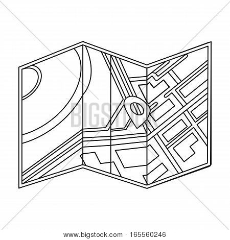 Travel map icon in outline design isolated on white background. Rest and travel symbol stock vector illustration.