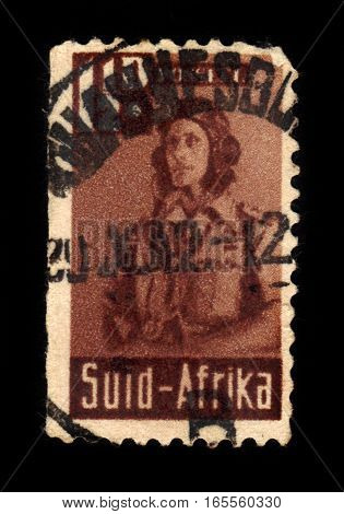 South Africa - CIRCA 1942: A stamp printed by South Africa shows aviator during World War II, series war effort , circa 1942