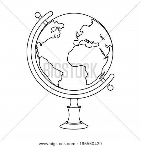 Globe icon in outline design isolated on white background. Rest and travel symbol stock vector illustration.