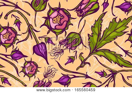 Seamless pattern with flowers. Geum Rivale. Rosaceae. Vector. Hand drawn.