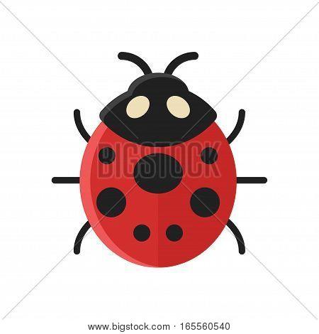 Vector flat style illustration of ladybug. Icon for web. Isolated on white background.