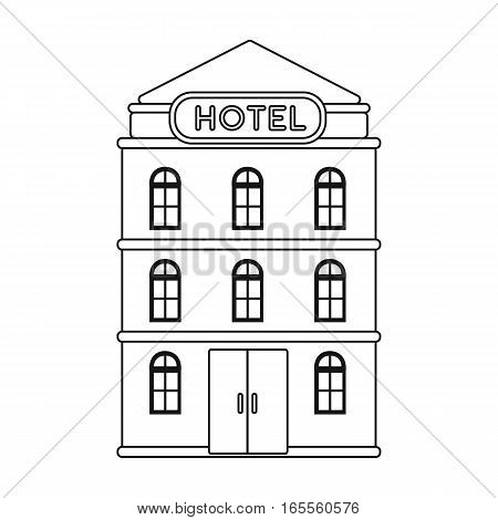 Hotel building icon in outline design isolated on white background. Rest and travel symbol stock vector illustration.