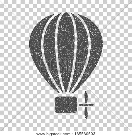 Aerostat Balloon grainy textured icon for overlay watermark stamps. Flat symbol with scratched texture. Dotted vector gray ink rubber seal stamp with grunge design on a white background.