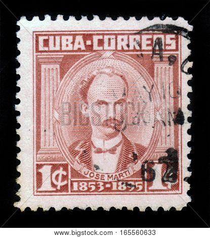 CUBA, CIRCA 1961: stamp printed in Cuba , shows Jose Marti, cuban national hero, circa 1961