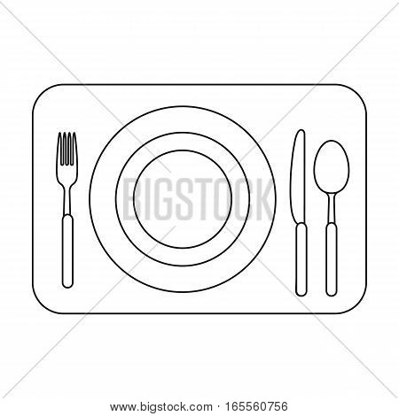Served table icon in outline design isolated on white background. Rest and travel symbol stock vector illustration.