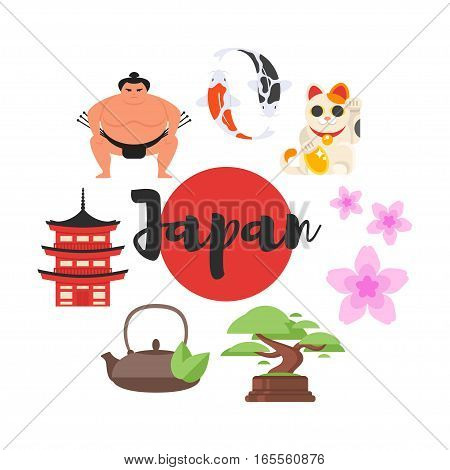 Vector flat style set of Japanese traditional objects. Icon for web. Isolated on white background.