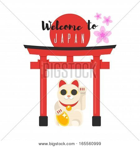 Vector flat style illustration of Japanese traditional gate with Lucky Cat Maneki Neko. Icon for web. Isolated on white background.