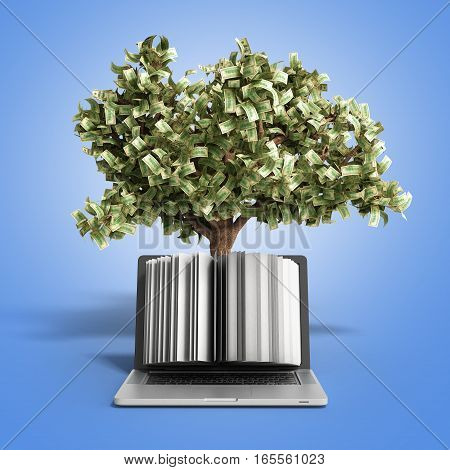 Black Pc With Money Tree On Gradient Background 3D Render Success Knowlage Concept