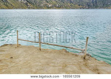 Shore at quilotoa lake in Latacunga Ecuador